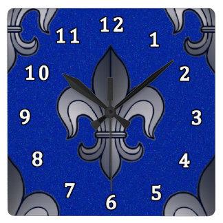 Fleur de lis Silver and Blue Square Wall Clock