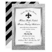 Fleur De Lis Silver Glitter Wedding Invitations