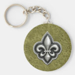Fleur de Lis Silver on Green Leather Look Basic Round Button Keychain