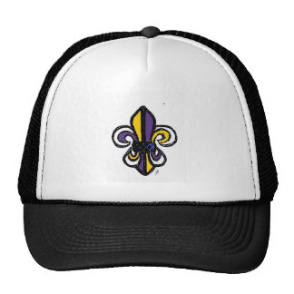 Fleur de lis sketch in Tri-Tone purple gold Trucker Hat