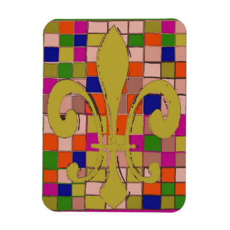 Fleur De Lis, stain glass effect, add text Magnet