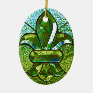Fleur De Lis Stained Glass Green Ceramic Ornament