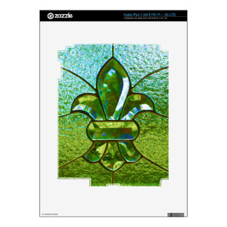 Fleur De Lis Stained Glass Green iPad 3 Decals