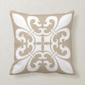 Fleur de Lis Symbols in White on Tan Pillow