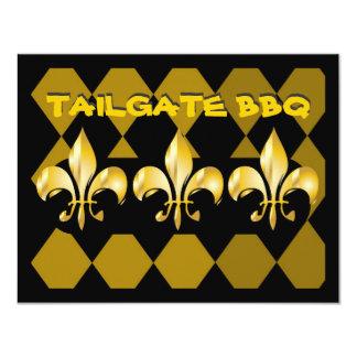 Fleur de Lis, tailgate bar b q 4.25x5.5 Paper Invitation Card
