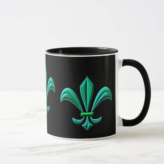 Fleur de lis - teal mug