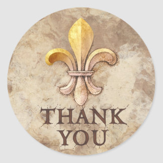 Fleur-de-lis Thank You Classic Round Sticker