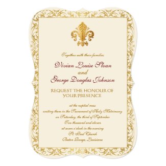 Fleur-de-lis Themed Wedding 5x7 Paper Invitation Card