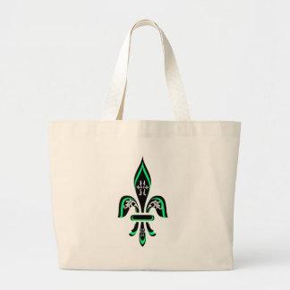 FLEUR DE LIS TRI COLOR IN GREEN CANVAS BAGS