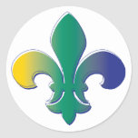 Fleur De Lis tri colored Classic Round Sticker