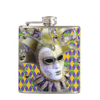 Fleur De Lis Venetian Mask Mardi Gras Hip Flask