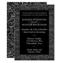 Fleur de Lis Vintage Damask Floral Grunge Wedding Invitation