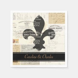 Fleur de Lis Vintage French Wedding Napkins Paper Napkins
