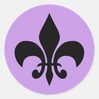 Fleur de lis Violet Round Sticker