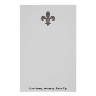 Fleur De Lis Water Meter Lid, Name address customi Stationery
