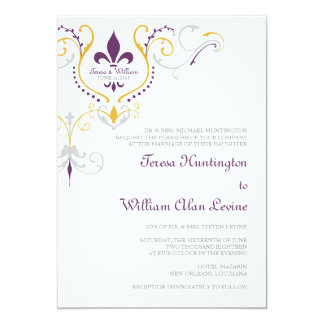 Fleur De Lis Wedding Invitations 5x7