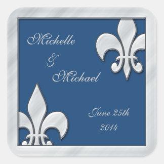Fleur de Lis Wedding  Silver and Blue Stickers