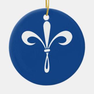 Fleur de Lis: White Double-Sided Ceramic Round Christmas Ornament