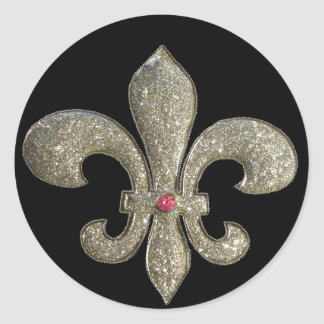 Fleur de lis with bling round stickers