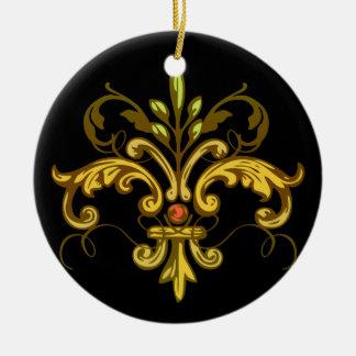 Fleur de lis Xmas - black Ceramic Ornament