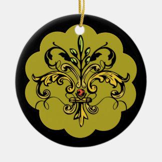 Fleur de lis Xmas - gold Ceramic Ornament