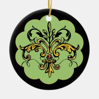 Fleur de lis Xmas - green Ceramic Ornament