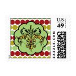 Fleur de lis Xmas Postage Stamps