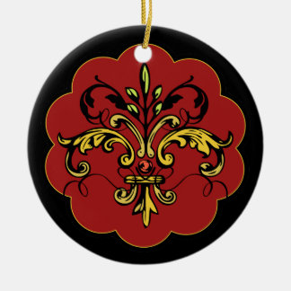 Fleur de lis Xmas - red Ceramic Ornament