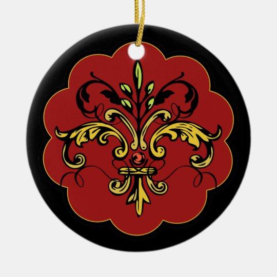 Fleur de lis Xmas - red Ceramic Ornament
