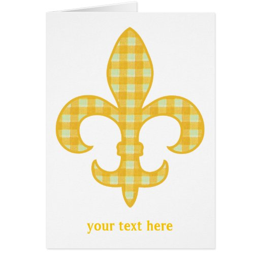 Fleur de lis Yellow Gingham Greeting Card