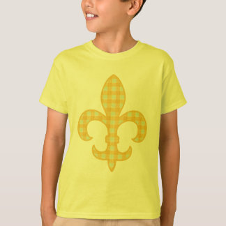 Fleur de lis Yellow Gingham kids t-shirt