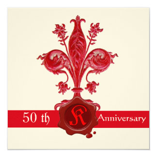 FLEUR DE LISE ANNIVERSARY Red Wax Seal  Monogram Card