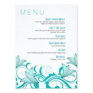 Fleur de Lyrica Floral Dinner Menu | teal Card