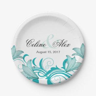 Fleur de Lyrica Floral Wedding   teal 7 Inch Paper Plate