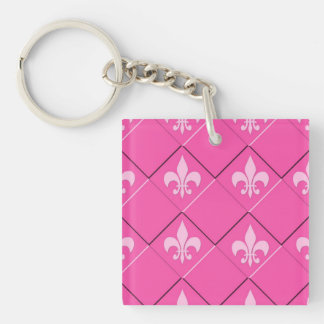 Fleur de lys and squares pink pattern keychain