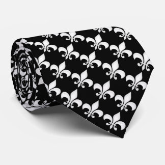 Fleur-de-Lys Black & White Tie