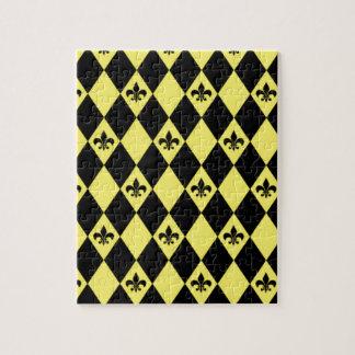 Fleur-de-lys-diamantes amarillos y negros puzzles