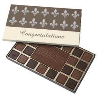 Fleur de lys Floral Pattern Congratulations 45 Piece Box Of Chocolates