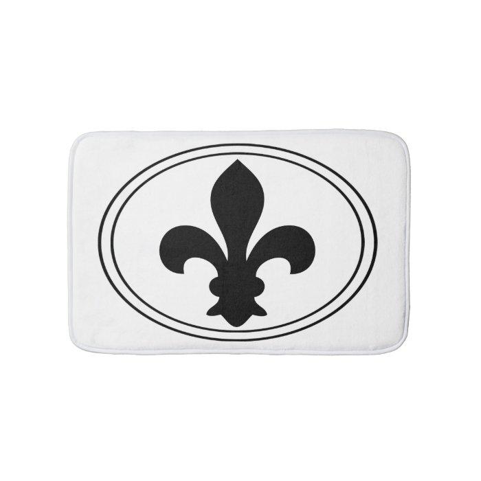Fleur de lys french symbol black oval custom color bathroom mat zazzle - Fleur de lys symbole ...