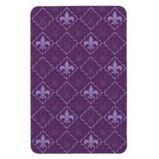 Fleur de lys pattern purple fridge magnet, gift magnet
