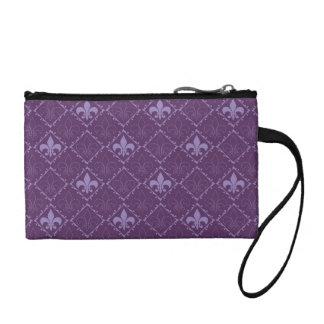 Fleur de lys pattern purple key coin clutch bag change purse