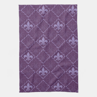 Fleur de lys pattern purple kitchen hand towel