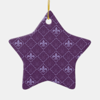 Fleur de lys pattern purple star ornament