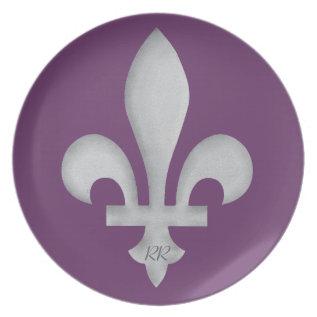 Fleur-de-lys Romantic Floral Coat Of Arms Plate at Zazzle