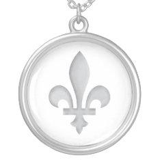 Fleur-de-lys Romantic Floral Silver Necklace at Zazzle