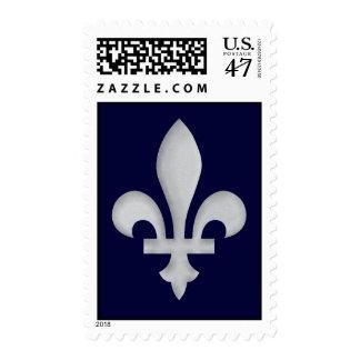 Fleur-de-lys Romantic Silver On Postage Stamp