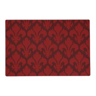 Fleur-de-lys Tiled Pattern Red Placemat