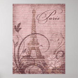 """Fleur de Paris Eiffel Tower 30""""x40"""" pink Poster"""