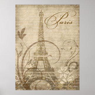 """Fleur de Paris Eiffel Tower 30""""x40"""" sand Poster"""