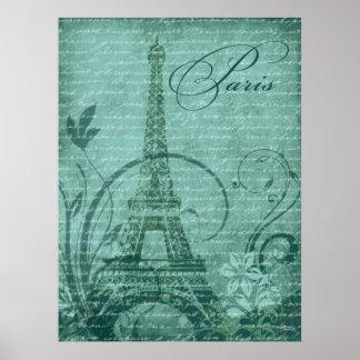 """Fleur de Paris Eiffel Tower 30""""x40"""" teal Poster"""